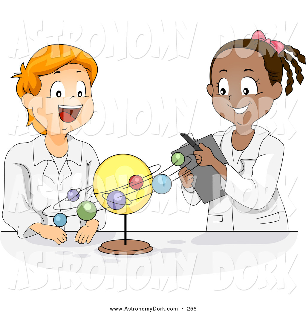 Clip Art Of A Male And Female Student Studying The Solar System