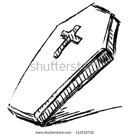Closed Casket Sketch Coffin With Cross Isolated On