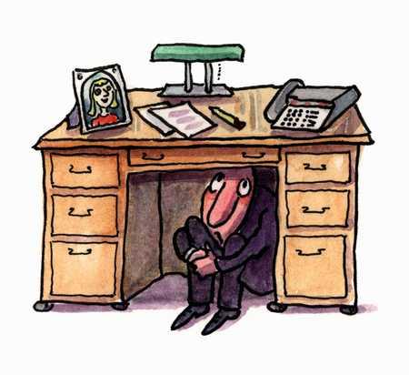 Image result for hiding under desk