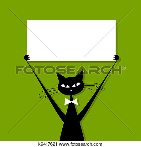 Funny Cat With Business Card Place For Your Text View Large Clip Art