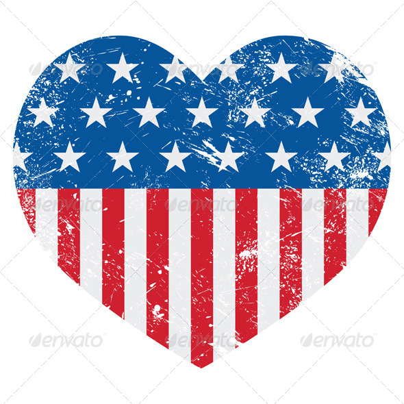 Graphicriver Usa America Retro Heart Flag 4182927