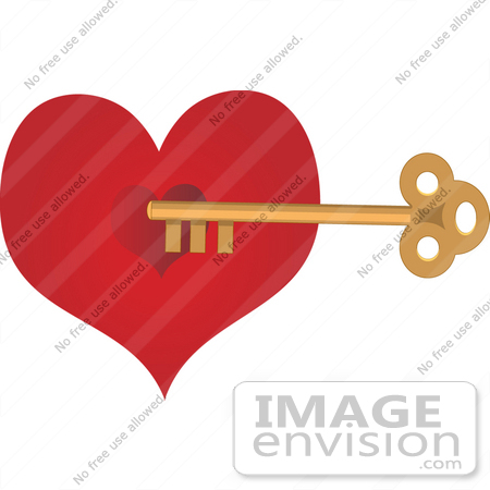 Heart Key Clip Art  33472 Clipart Of A Deep Red