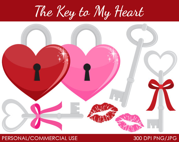 Key To My Heart Clipart   Digital Clip Art Graphics For Personal Or