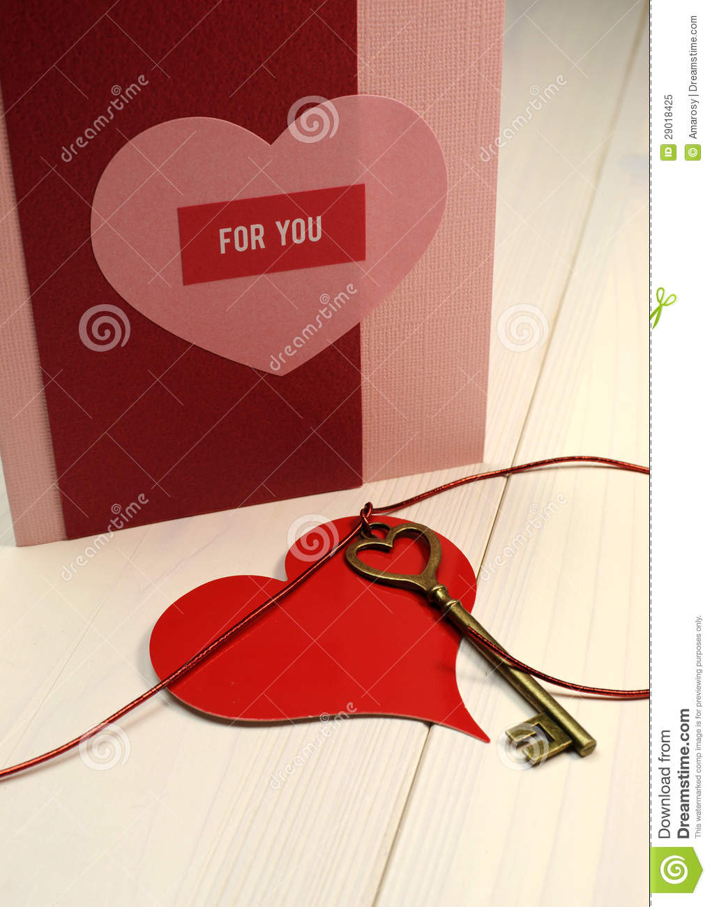 Key To My Heart Love Concept Gold Heart Shape Key Red Heart Gift Tag