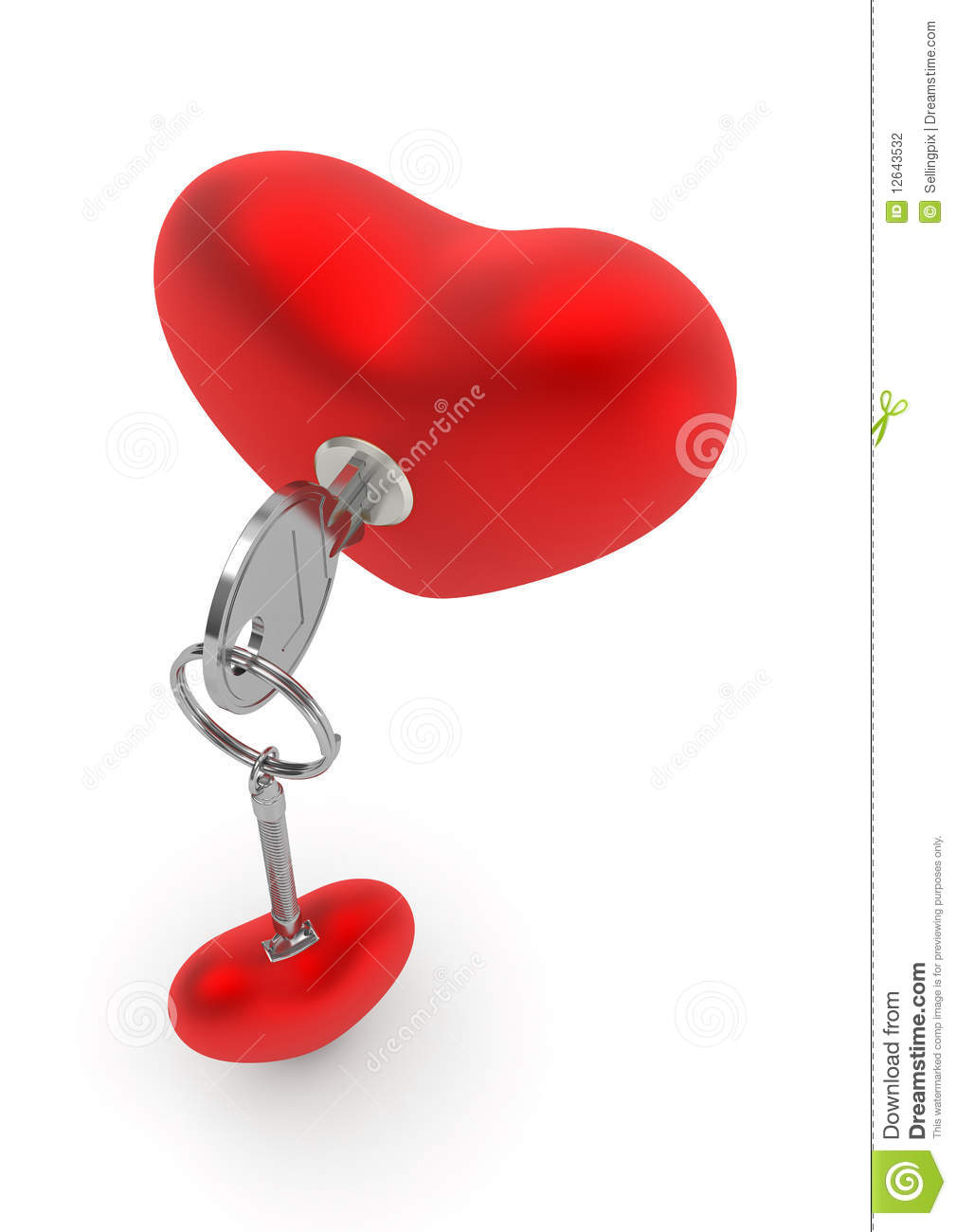 Key To My Heart With Heart Trinket In The Lock Stock Photography