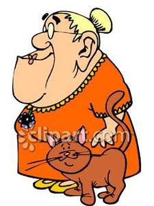 Old Lady And Her Cat Royalty Free Clipart Picture