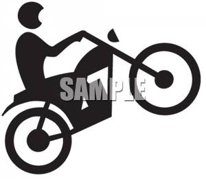 Silhouette Of A Person Riding A Motorcycle   Royalty Free Clipart