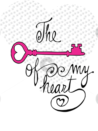 The Key Of My Heart Stock Vector Clipart Big Dotted Heart In The Back