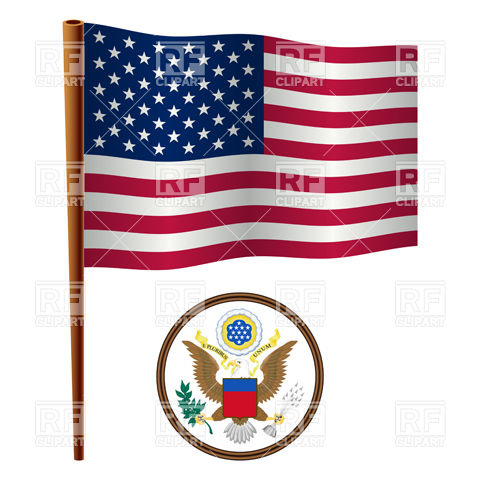 Usa Flag And Coat Of Arms Download Royalty Free Vector Clipart  Eps