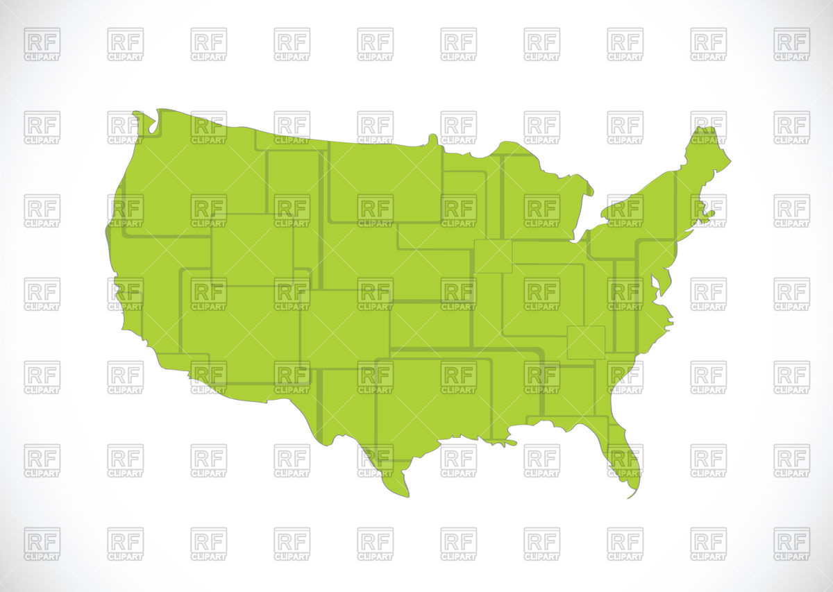 Usa Map Outline Filled With Green Pattern 87899 Signs Symbols Maps