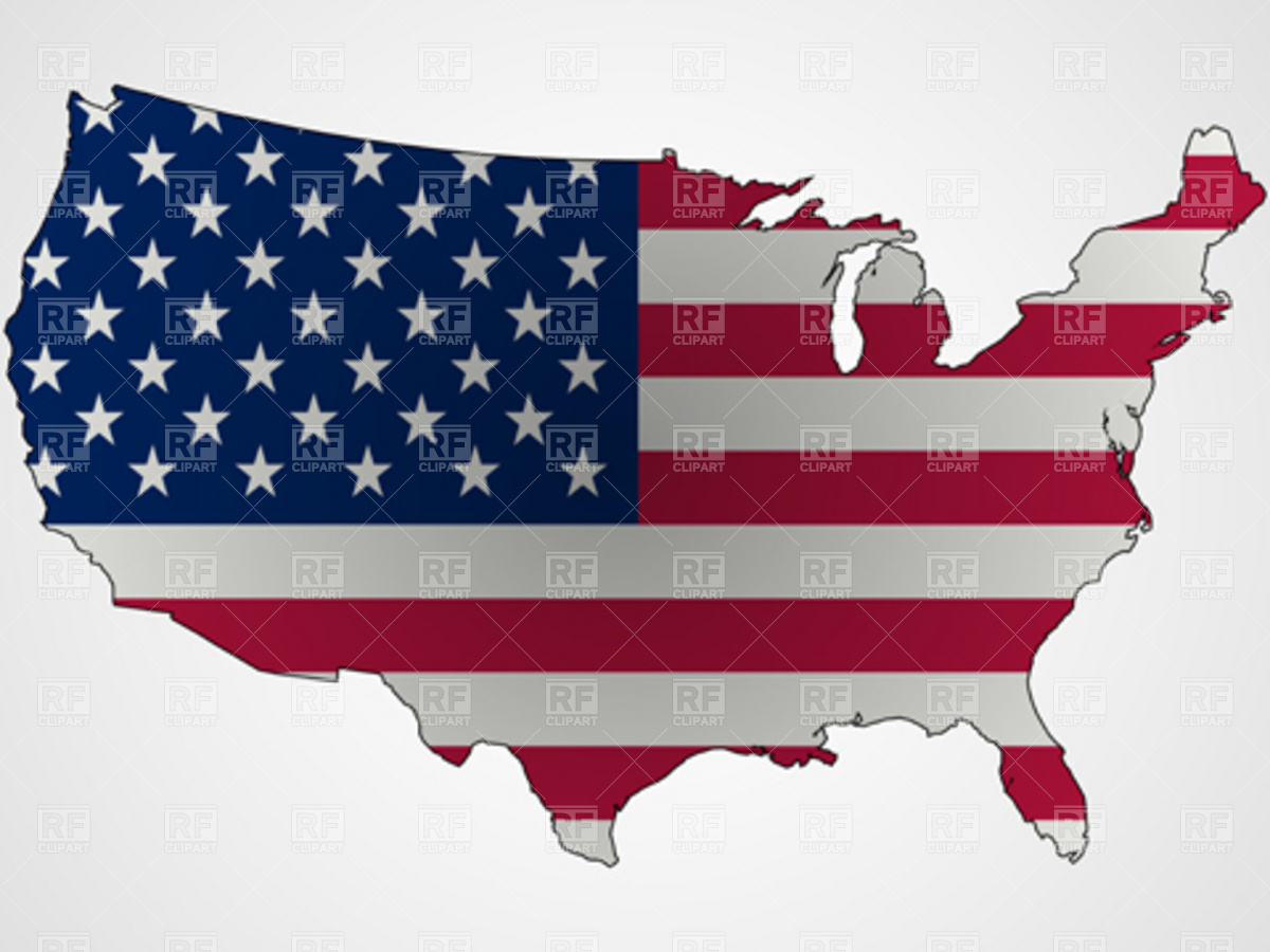 Usa Map Outline With Flag Download Royalty Free Vector Clipart  Eps