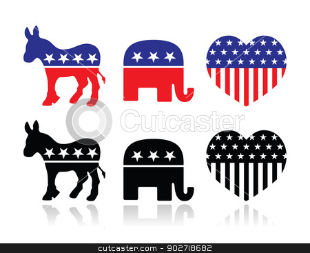 Usa Political Parties Symbols  Democrats And Repbublicans Stock Vector