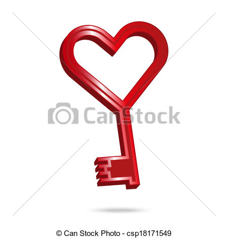 Vector Of Key To My Heart   Valentine Icon In The Shape Of A Red Key