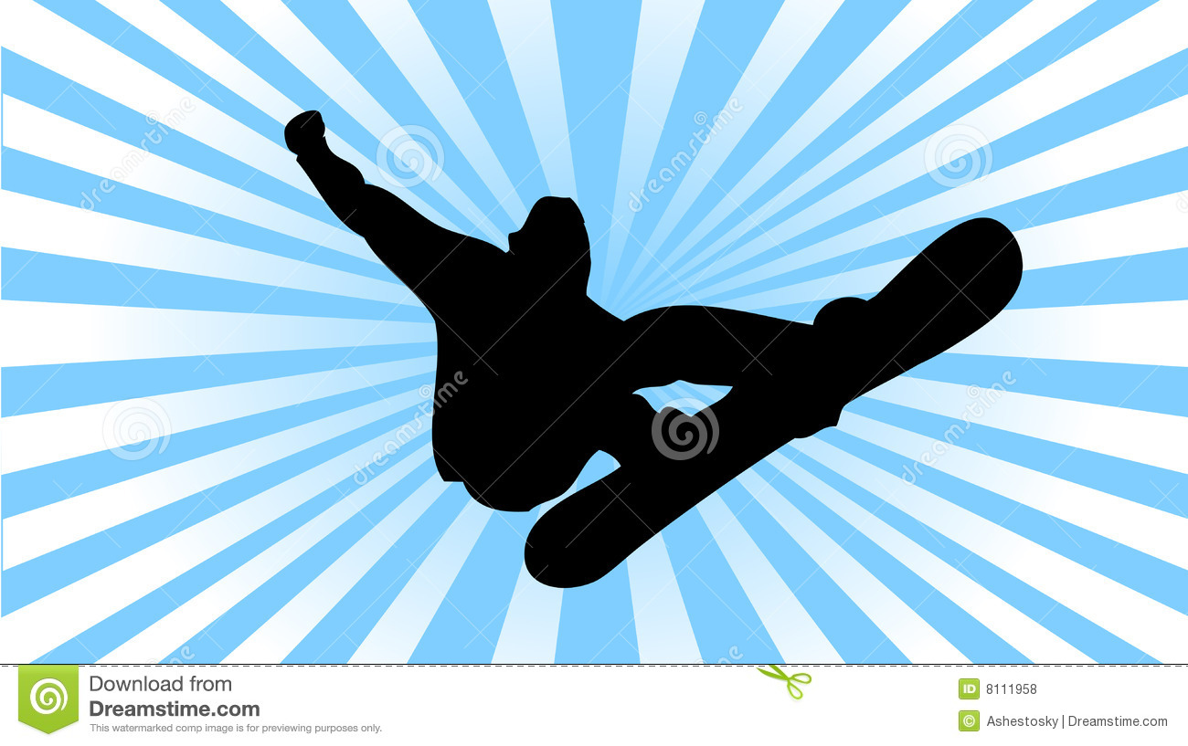 Vectored Illustration As Silhouette Of Snowboarder Performing A Trick