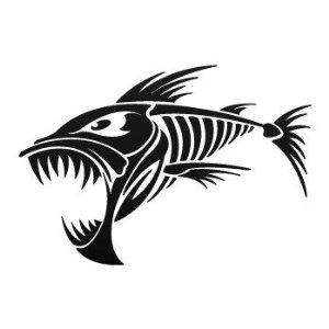Piranha skeleton tattoo - photo#9