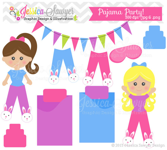 Clearance Pajama Party Clipart Sleepover Clip Art For Commercial