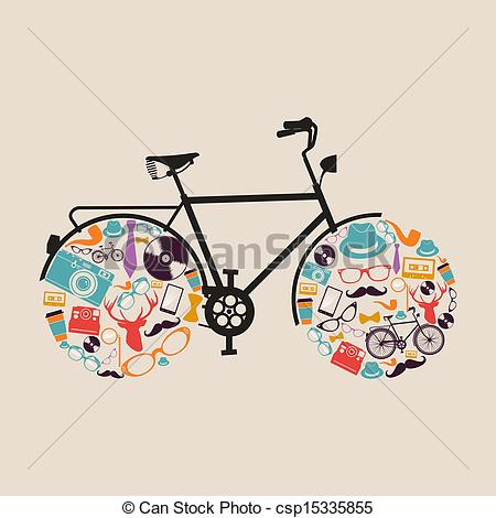 Clipart Vector Of Vintage Hipsters Icons Bike   Retro Fashion Hipsters