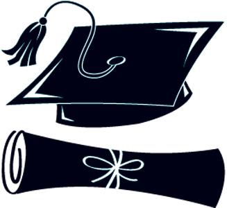 and Graduation white black cap clip art