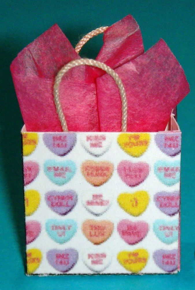 Miniature Valentine S Day Gift Bag Valentine S Day Candy Hearts   Ebay