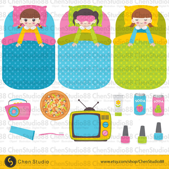 Sleepover Party Clipart 3 Vector   Digital Clipart   Instant Download
