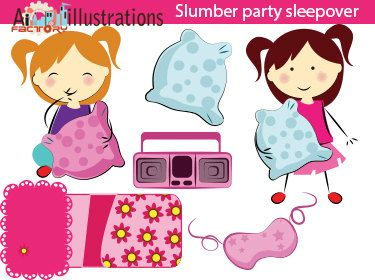 Slumber Party Cute Pink Girls Sleepover Clipart Digital Png Clipart