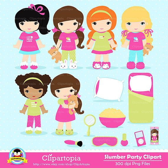 Slumber Party Digital Clipart Sleepover Clipart Pajamas Party Clip