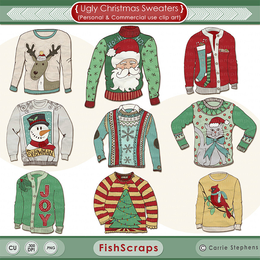 Ugly Sweater Clipart Christmas Clipart Digital By Fishscraps