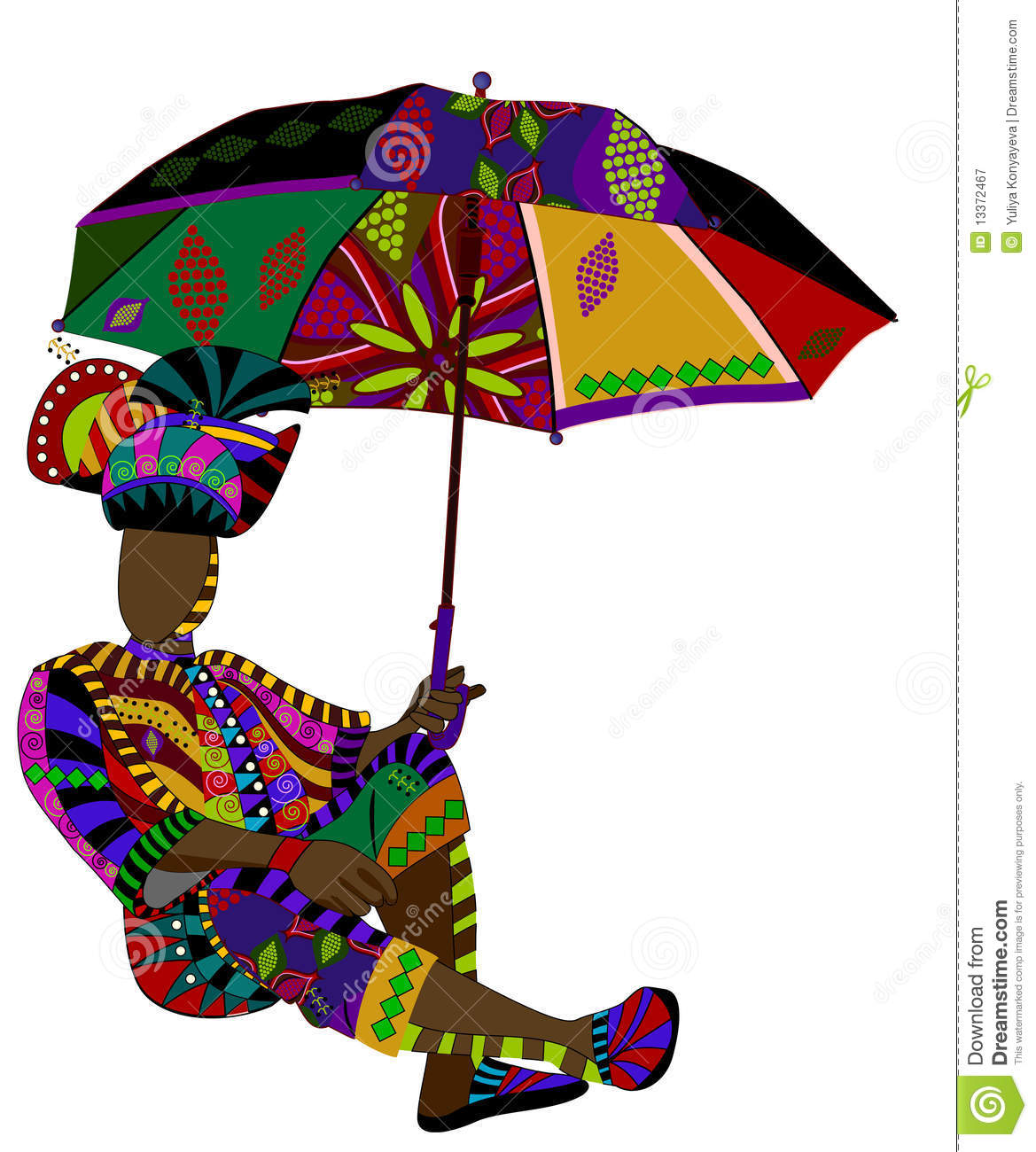 Fashionable Man In Ethnic Style With An Umbrella In His Hand