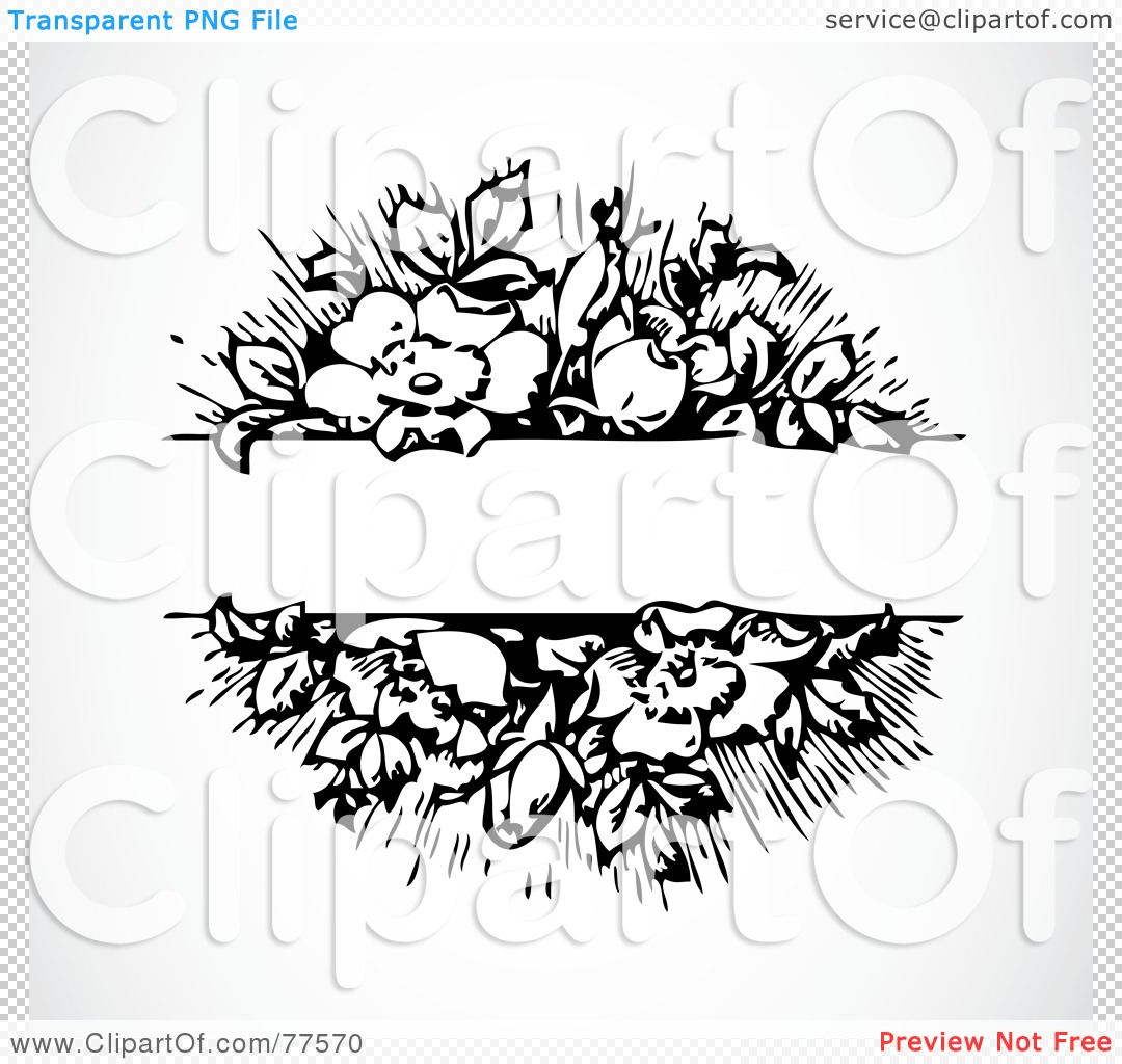 Free  Rf  Clipart Illustration Of A Black And White Floral Text Bar