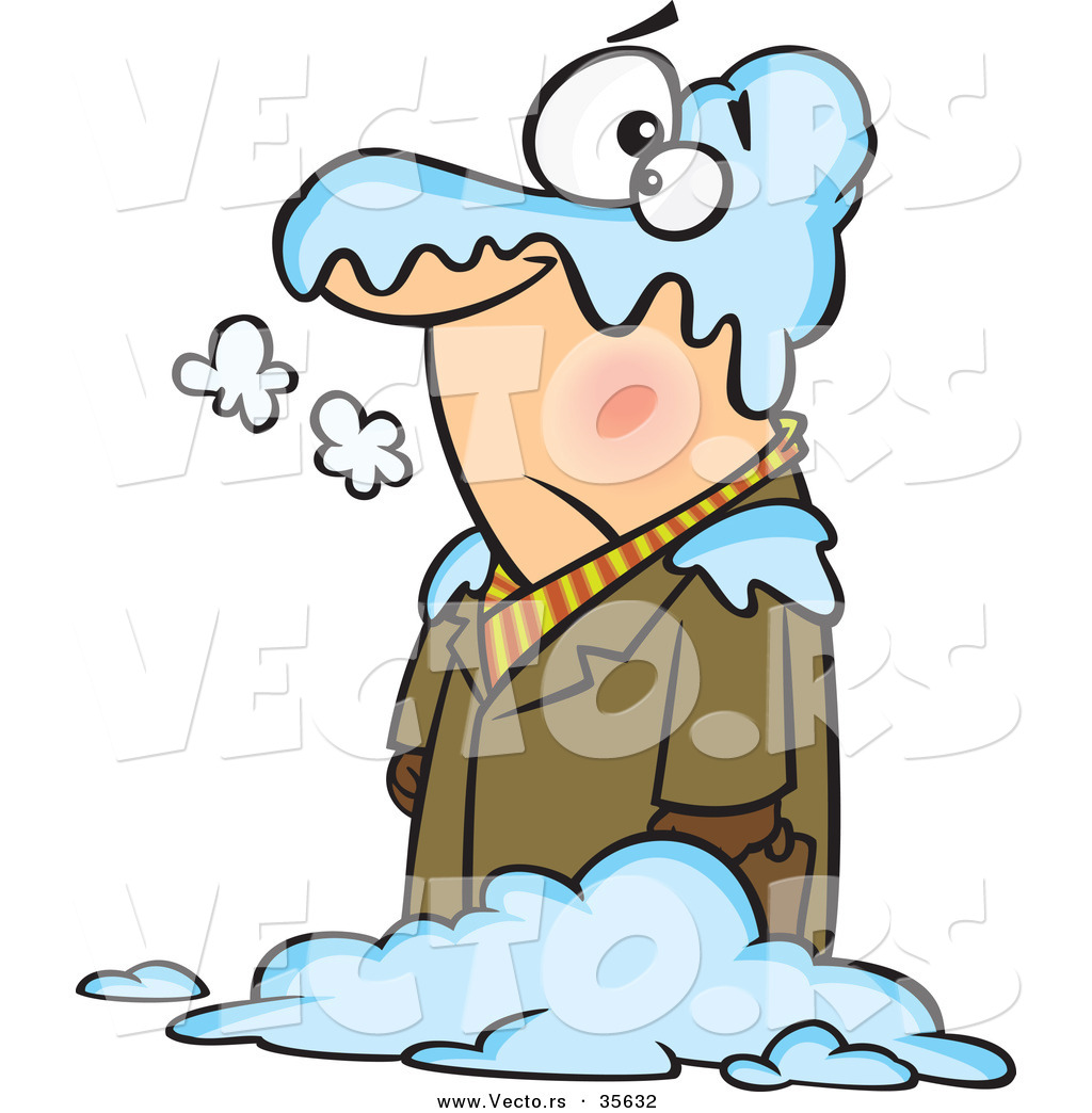 Larger Preview  Vector Of A Cold Cartoon Man Standing In A Blanket Of