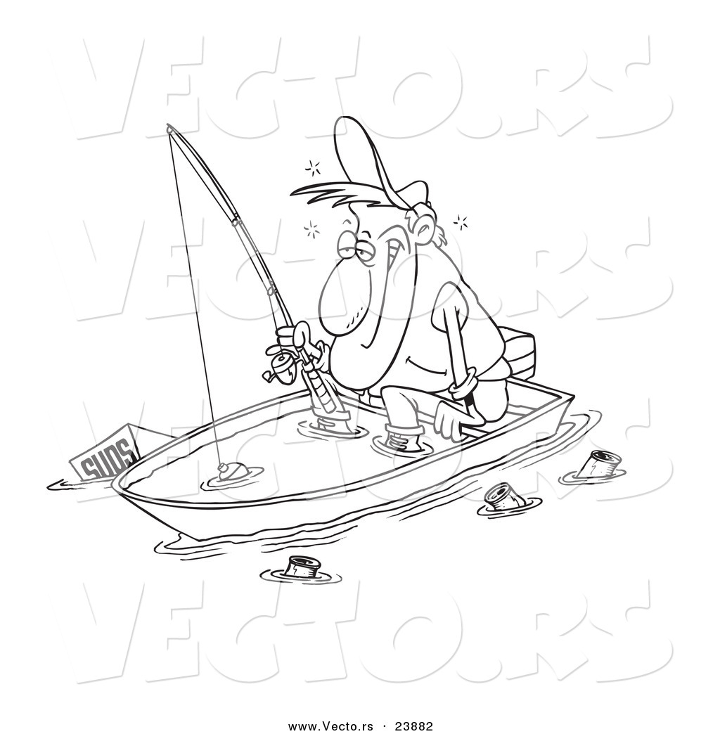Man Fishing In A Sinking Boat   Coloring Page Outline By Ron Leishman