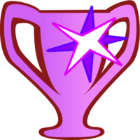 Prize Cup Trophy Victory Medallion Stars   Color Variation A