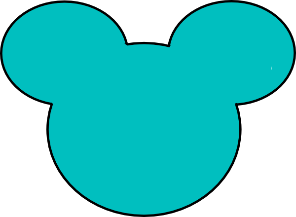 Teal Mickey Mouse Outline Clip Art At Clker Com   Vector Clip Art