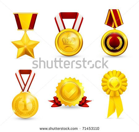 Vector Images Illustrations And Cliparts  Gold Medal Set 10eps