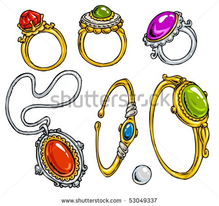 Cartoon Jewelry Clip Art Color   Stock Vector