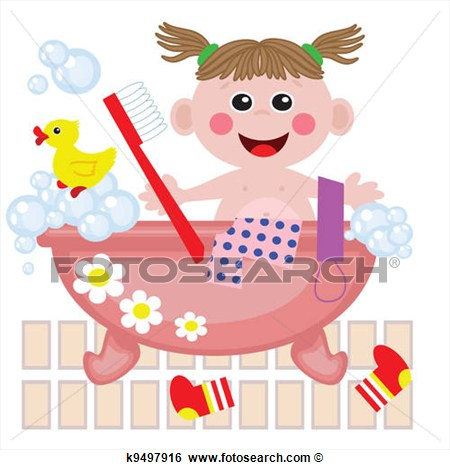 Clip Art Of Girl Showering In Bath Vector  K9497916   Search Clipart