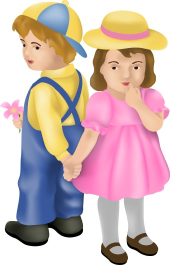 Clip Art Of Shy Little Boy And Girl Standing Back To Back Holding
