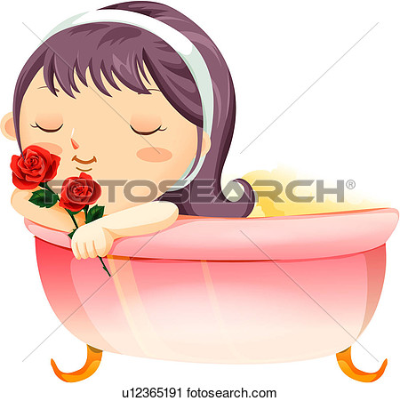 Clipart   Girl In Tub Smelling Roses  Fotosearch   Search Clip Art