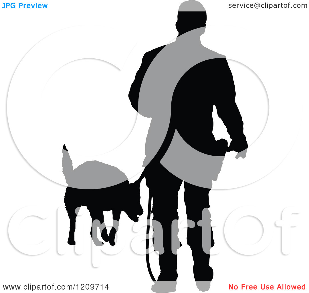Clipart Of A Black Silhouetted Police Officer Training With His K9 Dog