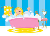 Girl Happy Taking A Bubble Bath   Clipart Graphic