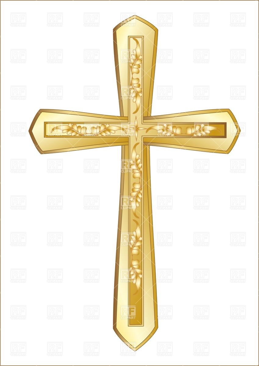 Golden Christian Cross Isolated On The White Background 25520