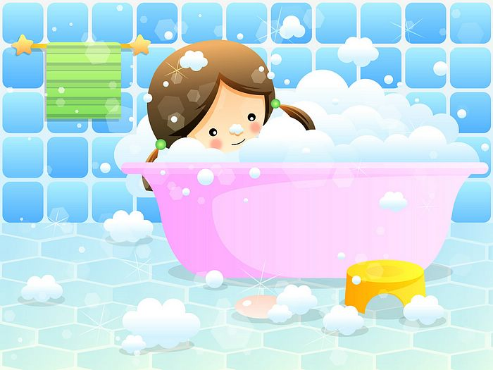 Illustration   Cute Girl In Bubble Bath  Vector Characters Clip Art