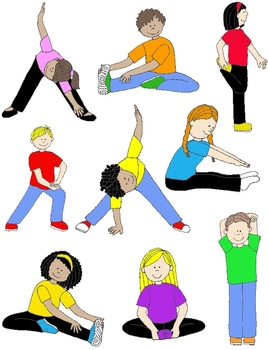 Kids In Action  Stretches And Warm Ups Clip Art 18 Pngs