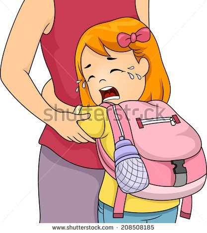 Little Girl Crying Out Loud While Clinging To Her Mom   Stock Vector