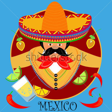 Mexican Menu Illustration Of A Cartoon Mexican Cook Showing The List