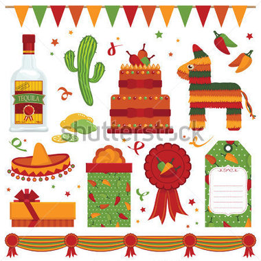 Mexican Party Items With Pinata And Tequila Isolated On White