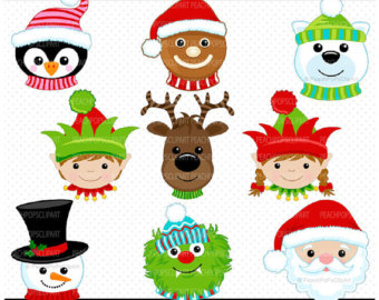 Sale   Clipart San Ta Reindeer Elf Snowman Gingerbread   Chilly Silly