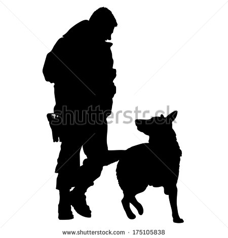 Silhouette Of A Police Officer Training With His Dog Partner   Stock