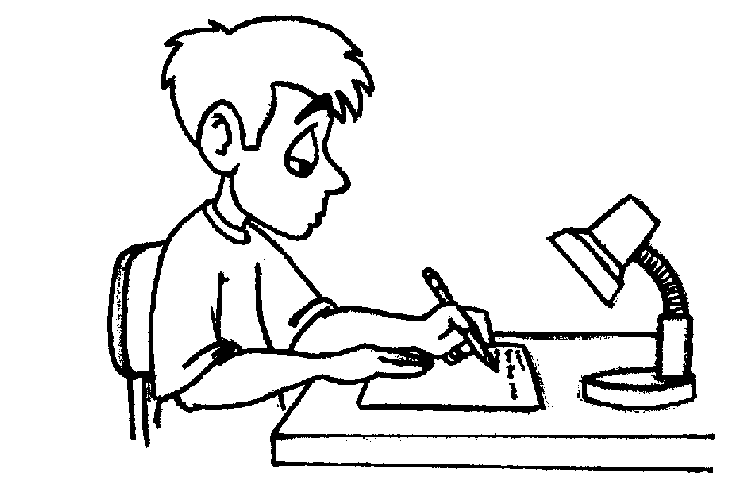 Student Clipart Black And White: Student Writing Black And White Clipart