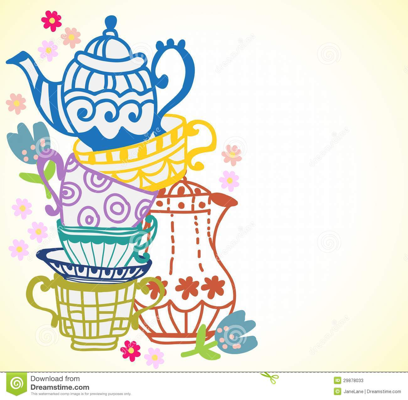 Tea Cup Background With Teapot Stock Photos   Image  29878033
